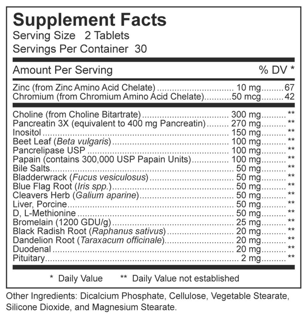 Dynamic Nutritional Associates (DNA Labs) Lipo Plex Supplement Facts