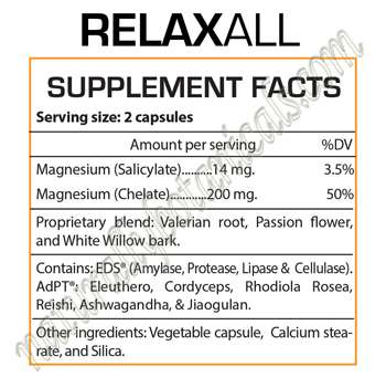 Professional Botanicals Relaxall Supplement Facts