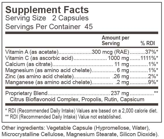 Dynamic Nutritional Associates (DNA Labs) Vitrex C 1000 Supplement Facts