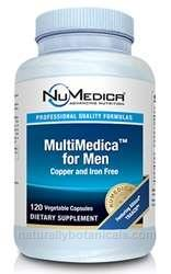 Naturally Botanicals | NuMedica Nutraceuticals | MultiMedica for Men - 120c | Multi Vitamin & Mineral Supplement for Men